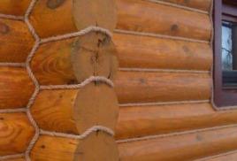 Отделка срубов джутовыми канатами